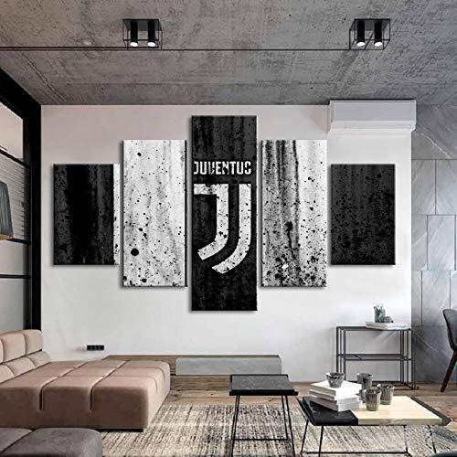 lcyfg Famosa Squadra di Calcio Bandiera Logo Poster Stampa 5 Pezzi Stampa su Tela Sport Poster Quadri su Tela Decorazioni per La Casa per Pareti da Ragazzo Telaio