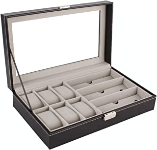 Bloodyrippa Luxury Watch & Glasses Storage Box, 6 Grids for Watches, 3 Slots for Glasses, PU Leather Case Finish, Top Transparent Acrylic Display Window, Metal Lock Organizer