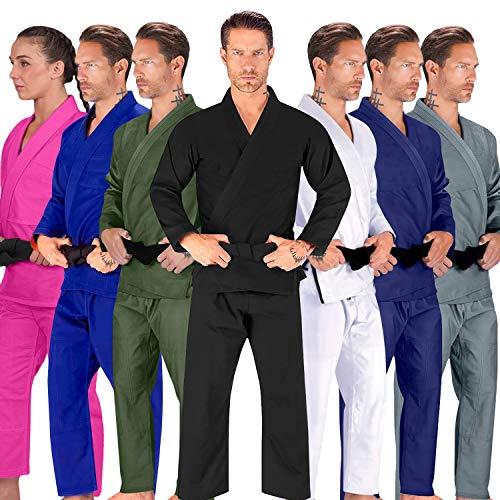 Elite Sports BJJ GI for Men IBJJF Kimono BJJ Jiu Jitsu Lightweight GIS W/Preshrunk Fabric & Free Belt (Premium Black, A3)