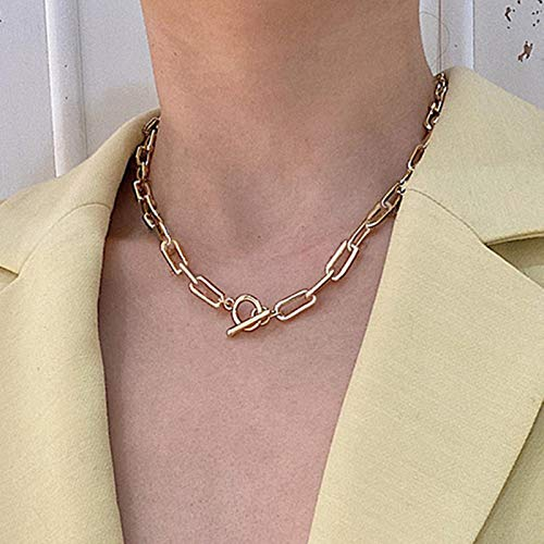 Box Chain Toggle Clasp Gold Necklace Mixed Linked Circle Necklaces for Women Minimalist Choker Necklace