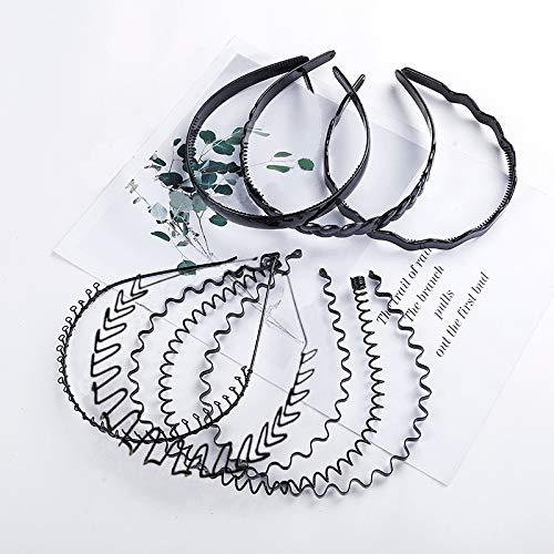 8 piezas Unisex banda para el cabello de metal, aro de plástico...