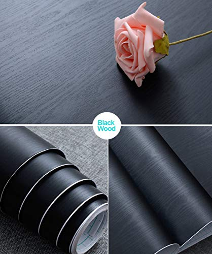 Abyssaly 17.71' X 78.7' Black Wood Peel and Stick Paper Decorative Self-Adhesive Film for Furniture Real Wood Tactile Sensation Surfaces Easy to Clean