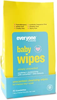 Everyone Mild and Moisturizing Baby Wipes, Natural Chamomile and Aloe, 30 Towelettes, 6 Count