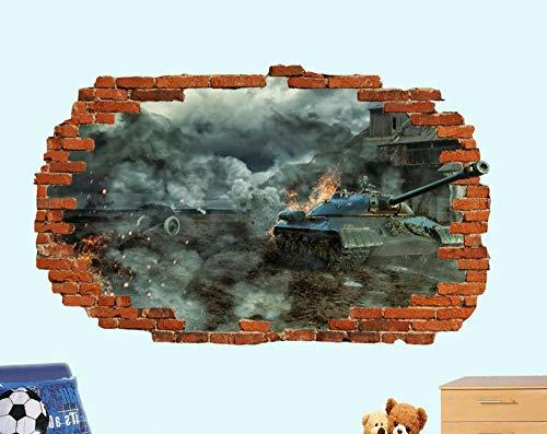 Yxsnow 3D Pegatinas de pared Tanque de ruinas de la ciudad Extraíble Agujero en la pared Vinilo Decorativo Pegatinas Vista de Efecto Adhesivos De Pared