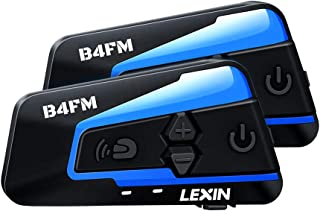 LEXIN 2pcs B4FM Motorcycle Bluetooth Intercom with FM Radio, Motorcycle Helmet Bluetooth..