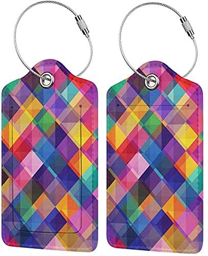 BeachSurfers - Etichette per bagagli, in pelle PU, motivo geometrico, variopinto per valigie, etichette per bagagli, porta carte d'identità da visita, confezione da 2, colore: arancione