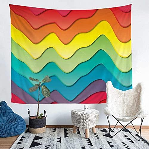Tapiz decorativo, colorido tapiz de olas de mar, manta de pared de surf para niños y niñas, adolescentes, estilo náutico, para colgar en la pared, transpirable, manta de cama pequeña de 156 x 200 cm