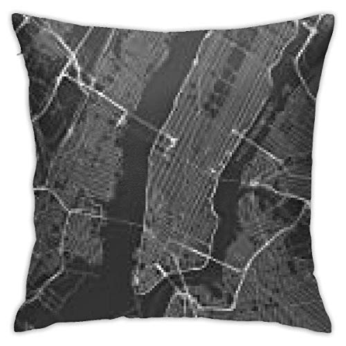 Square Throw Pillow Cover, Gray NYC All Streets of New York and Surroundings Map Manhattan City Black Decorative Pillow Case for Sofa 18 X 18 Inches