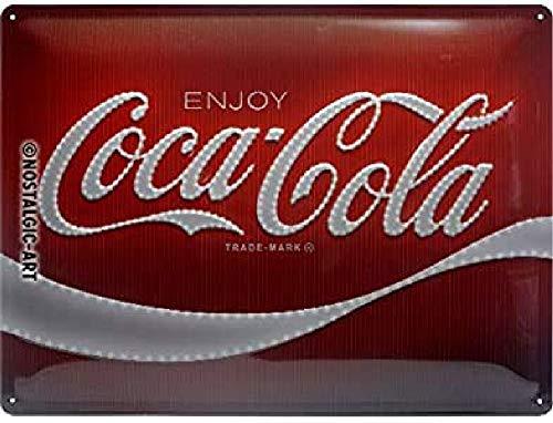 Nostalgic-Art Cartel de chapa retro Coca-Cola – Logo Lights – Idea de regalo aficionados a la Coke, metálico, Diseño vintage decorativo, 30 x 40 cm