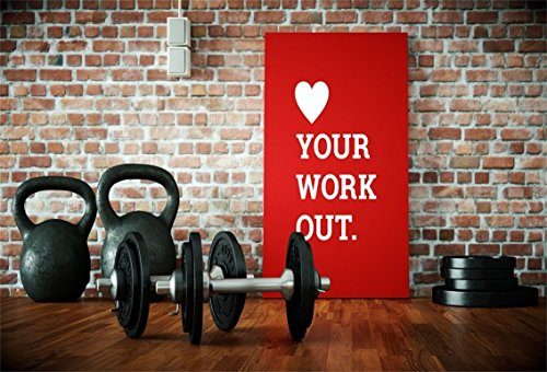 AOFOTO 7x5ft Gym Dumbbell Backdrop Interior Sport Fitness Photography Background Muscle Training Wellness Physique Shaping Physical Exercise Photo Studio Props Man Woman Artistic Portrait Wallpaper