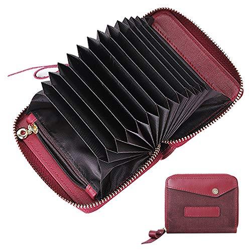 Ölwachstuch Leder Kreditkartenetui mit Münze, Reißverschluss Kleine Kartenetuis für Herren Damen, RFID Blocking, Silm Cards Geldbörse (rot)