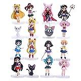 JINGMAI 12 Piezas Anime Sailor Moon Figura Tsukino Usagi Sailor Mars Mercury Júpiter Venus Saturno PVC Figuras Juguetes 7Cm
