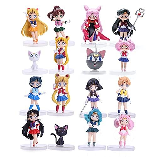 JINGMAI Juego de 12 figuras Anime Sailor Moon Tsukino Usagi Sailor Mars Merkur Júpiter Júpiter Venus Saturn PVC Figuras Juguetes 7 cm