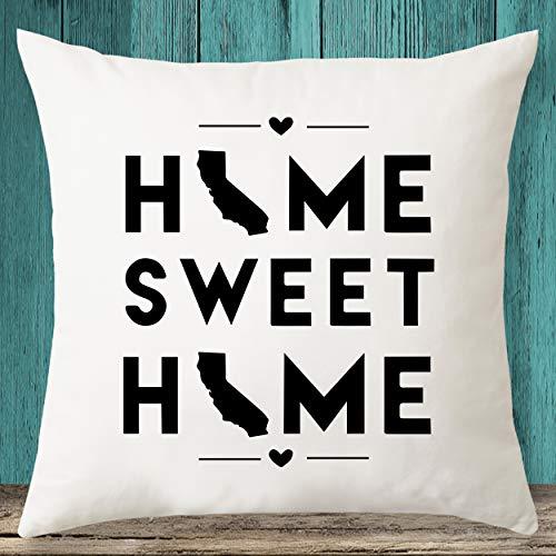 Home Sweet Home - Funda de almohada con diseño de mapa del estado de California, regalo de inauguración de la casa, funda de almohada personalizada
