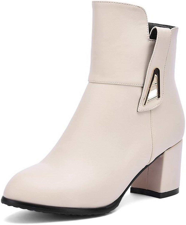 AdeeSu Girls Metal Ornament Kitten-Heels Business Imitated Leather Boots