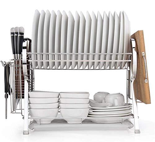 Qiutianchen Edelstahl Küche Besteck Rack Drain Rack Tischbesteck Geschirrträgerablaufablage Release Board Aufbewahrungskastengestell (Color : White)