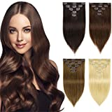 BOMFLUOUS Remy Clip in Hair Extensions Human Hair Thick Short Straight Real Double Weft Hair Extensions for Women 5Pcs 10 Clips 58g/Set 10 Inch