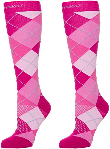Compression Socks 30-40mmHg (1 Pair - Argyle Pink M) - Best High Performance Athletic Running Socks - Men & Women
