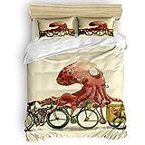 Three Sunflower 4 Piece Duvet Cover Bedding Set King Size, Ice Cream Kraken Octopus Unique Trendsetter Luxury Soft Bedding Set Comforter Cover (1 Duvet Cover + 1 Bed Sheets + 2 Pillowcases)