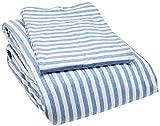 AmazonBasics - Set copripiumino in tessuto Jersey, motivo a strisce - 220 x 250 cm / 50 x 80 cm, Blu