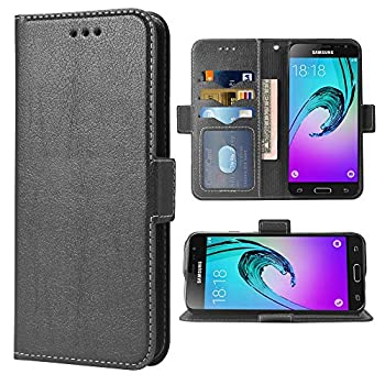 Compatible with Samsung Galaxy J3 2016 Folio Flip Wallet Case,PU Leather Credit Card Holder Slots Heavy Duty Full Body Protection Kickstand Protective Phone Cover for Glaxay GalaxyJ3 j310 Cases Black