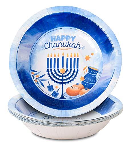 Hanukkah Bowls - 10 Pack - Hanukkah Paper Goods - Blue and White Chanukah Themed Party Supplies