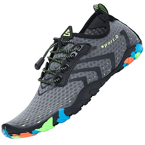 Zapatillas de Playa Unisex Secado Rápido Transpirable Zapatos de Surf para Hombres Antideslizante Ligero Calzado de Natación Interior Exterior, Corrugado Gris 37