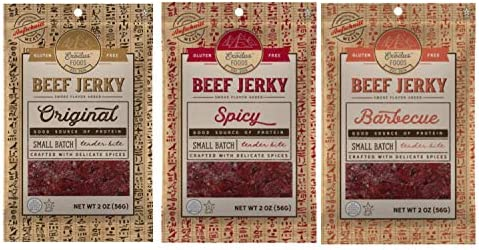Exodus Passover Beef Jerky Kosher Star K Passover Certified Gluten Free Variety 3 Pack By Aufschnitt product image