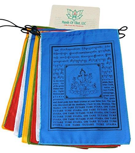 Handmade Green Tara Prayer Flags Tibetan with English Translation 6x8