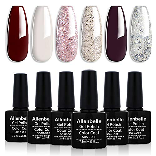 Allenbelle Smalto Semipermante Per Unghie Kit In Gel Uv Led Smalti Semipermanenti Per Unghie Nail Polish UV LED Gel Unghie(Kit di 6 pcs 7.3ML/pc) (002)