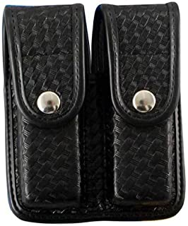 Bianchi 7902 BSK Black Double Mag Pouch with Chrome Snap Closure (Size 1)