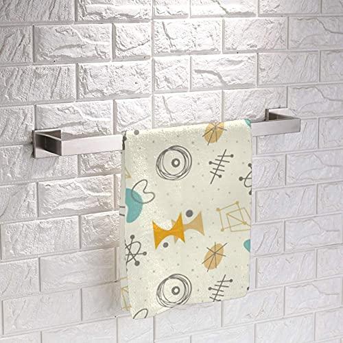 Mediados de siglo moderno estilo vintage atómico fondo cuadrado lavado suave toalla de mano acogedora mini toalla de cara de tela clásica para niños niña niño 30 x 30 cm 3 piezas