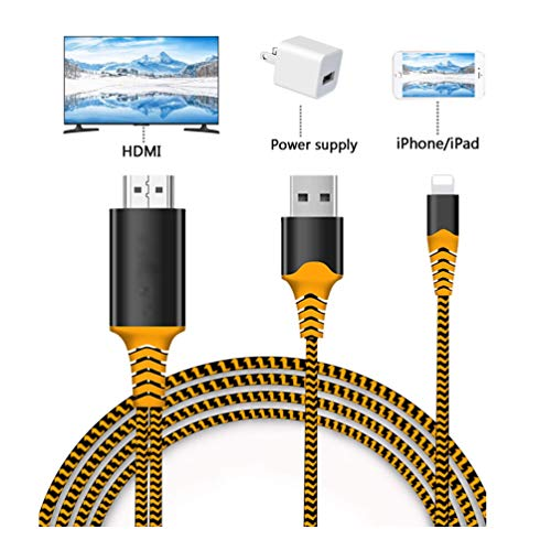 Compatible with iPad iPhone to HDMI Adapter Cable, Braole Connector, Digital AV Adapter Cord Support 1080P HDTV Converter Compatible with iPhone Xs MAX XR X 8 7 7Plus iPad to TV Projector Monitor