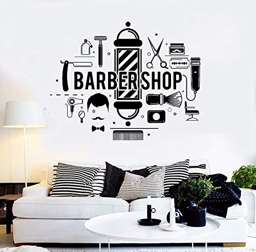 Pinsel Rasiermesser Schere Kamm Schnurrbart Pflege Friseur Salon Salon Haarschnitt Salon Fenster Wandaufkleber, abnehmbare Diy Wand Tattoo Wandtattoo Wandbild für Wohnzimmer,