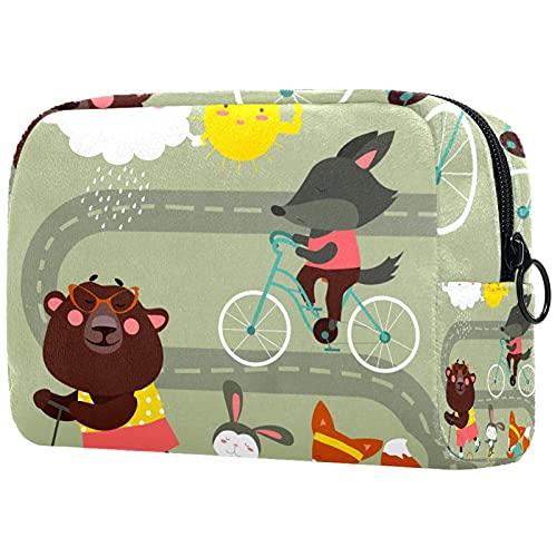Bolsas de cosméticos, bolsa de viaje con cremallera, neceser de sobrina o sobrino para tía en cumpleaños, día de la madre, Navidad, divertido conejo de zorro con bicicleta