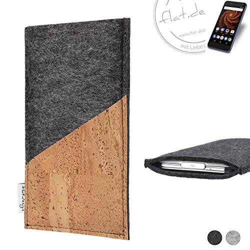 flat.design Handy Hülle Evora für Allview X4 Soul Mini S handgefertigte Handytasche Kork Filz Tasche Case fair dunkelgrau