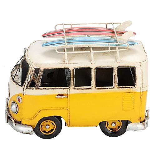 Ichiias Figuras en Miniatura de Coche con Caja de Metal Blanco y Amarillo, Adornos de autobús, Modelo en Miniatura de autobús de Estilo Retro Desgastado y Desgastado para niños, Juguetes, Amigos