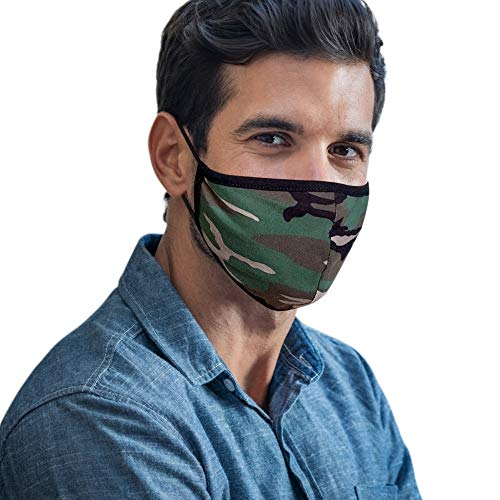 Cloth Face Mask Washable with Filter Pocket - Fashionable Designs for Men and Women are Washable, Breathable and Reusable - Soft Cotton Blend for Comfortable Protective Covering - Made in USA (Camo)
