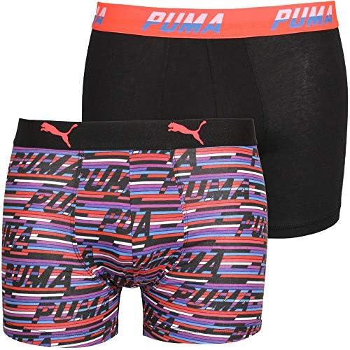 PUMA Men s 2 Pack Allover Logo Print Boxer Briefs Black Multi Large Black Multi product image