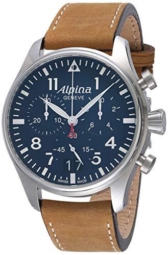 Alpina Herren-Armbanduhr AL-372N4S6, Startimer, Piloten-Chronograph, großes Datum, Analoganzeige, Schweizer Quarzuhrwerk, Braun