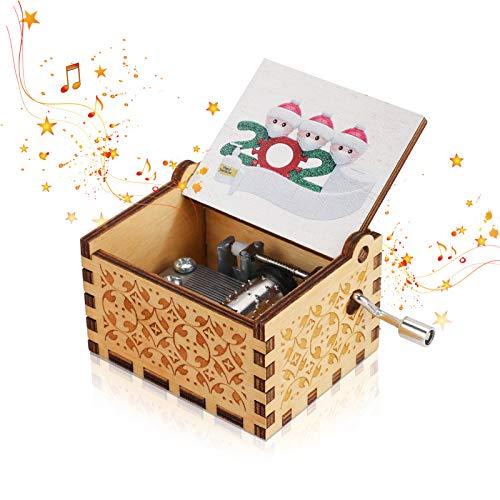 Achort Handkurbel-Spieluhr Holz-Spieluhr mit Handkurbel und Spieluhr mit Gravur Geburtstags Valentinstag Weihnachten Geschenk für Erwachsene Kinder Heimdekoration 63 * 50 * 38mm