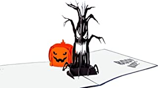iGifts And Cards Halloween Spooky Tree and Jack-O-Lantern 3D Pop Up Greeting Card - Pumpkin, Scary, Creepy, Fun, Half-Fold, Special Occasion, Trick or Treat, Kid, Unique, Haunted House, Magic Awesome