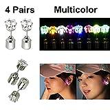Atcket (Mehrfarbig, 4 Paare) 4 Paare stilvolle LED Blinkende Bolzen Ohrringe Gl?nzender blinkender Kristallanh?nger f¨¹r Partei-Festival