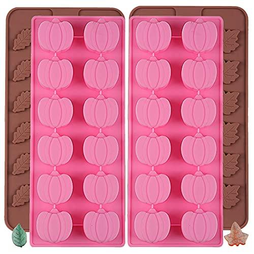 MEZHEN Halloween Molde de Silicona Moldes para caramelos 3D Molde de Calabaza Moldes de Hojas Molde para Chocolate Tartas Jabón 4 piezas