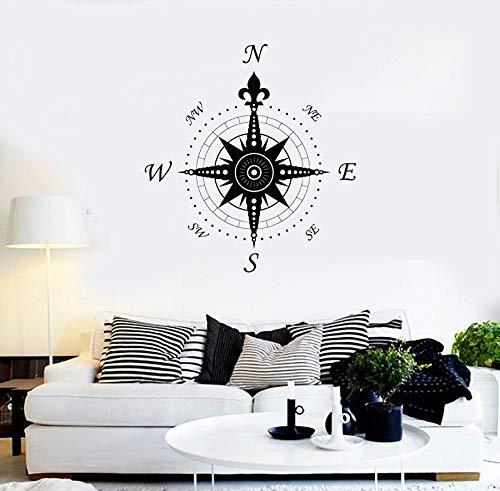 yaonuli Wandvinyloopsticker, kompas, zeeversiering, zeewetenschappelijke reisstickers, verzameling, strand uitgangdecoratie
