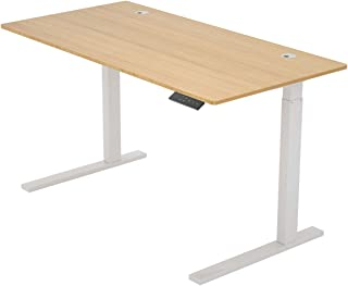 ZHU CHUANG Height Adjustable Desk Electric Standing Desk Stand up Desk Home Office Desk Dual Motor Natural Color 100% Solid Bamboo (48