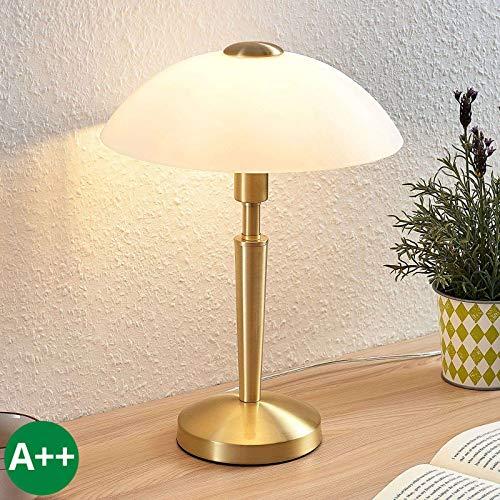 Lampenwelt Tischlampe 'Tibby' (Retro, Vintage, Antik) in Gold/Messing aus Metall u.a. für Wohnzimmer & Esszimmer (1 flammig, E14, A++) - Tischleuchte, Schreibtischlampe, Nachttischlampe