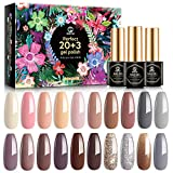MEFA 23 Pcs Gel Nail Polish Set with Nice Box, Soak Off Nail Gel Polish Nude Gray Brown Glitter with Glossy and Matte Top Coat Base Coat Manicure Nail Art Salon