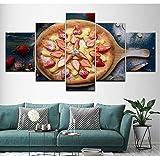 yangwuju HD Imprimé Peinture Affiches Modulaires Maison Décoration Mur Art Photos Cadre 5 Panneau Pizza Fraise pour Le Salon