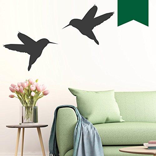 WANDKINGS Wandtattoo - Kolibris 2 Stück - 10 x 8 cm - Dunkelgrün - Wähle aus 5 Größen & 35 Farben